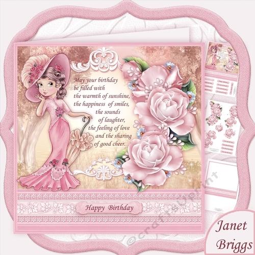 ELEGANT LADY IN PINK & Birthday Verse Decoupage Mini Kit