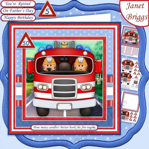 FIRE ENGINE ON STANDBY Adult Or Children Decoupage Ages Insert Mini Kit