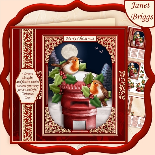 Christmas Toppers For Card Making.Christmas Robins On Post Box 7 5 Decoupage Insert Mini Kit