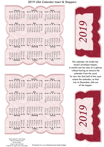 2019 Usa Calendar Insert Addon For Pink Roses Envelope Easel Kit