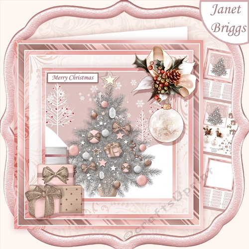 Rose Gold Christmas Tree 7 5 Decoupage Insert Mini Kit