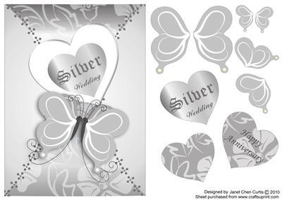 Butterflies Silver Wedding Anniversary - CUP138641_730 | Craftsuprint