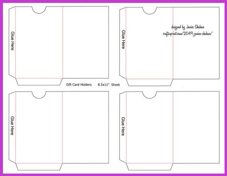 Gift Or Credit Card Envelope Template  Cup  Craftsuprint