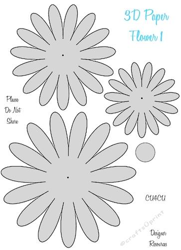 3d paper flower templates cu4cu cup8497522049 craftsuprint mightylinksfo