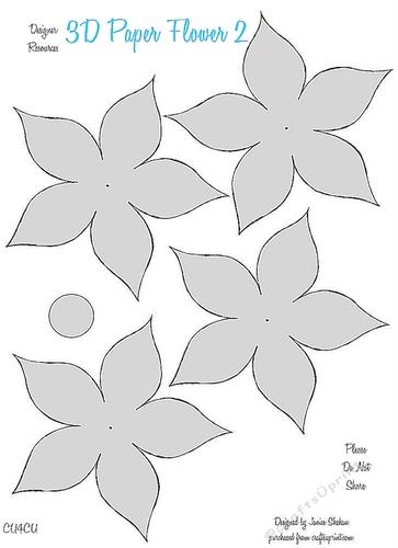 3d paper flower templates 2 cu4cu cup849754 2049 craftsuprint. Black Bedroom Furniture Sets. Home Design Ideas