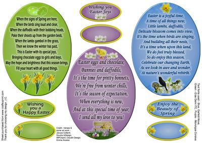 Three Easter Verse Toppers CUP6053091035 – Easter Verses for Cards