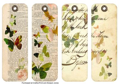Butterflies And Flowers Vintage Bookmarks Set Three