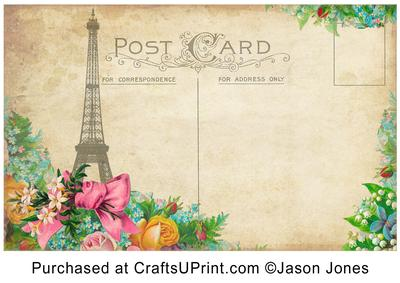 vintage floral postcard background paper cup211483_1068 craftsuprint