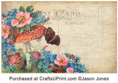vintage floral postcard background paper cup211484_1068 craftsuprint