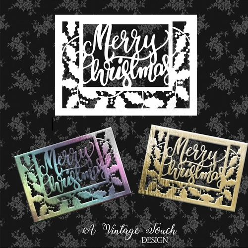 Christmas Cutout Patterns.Holly And Merry Christmas Cutout Christmas Card Template