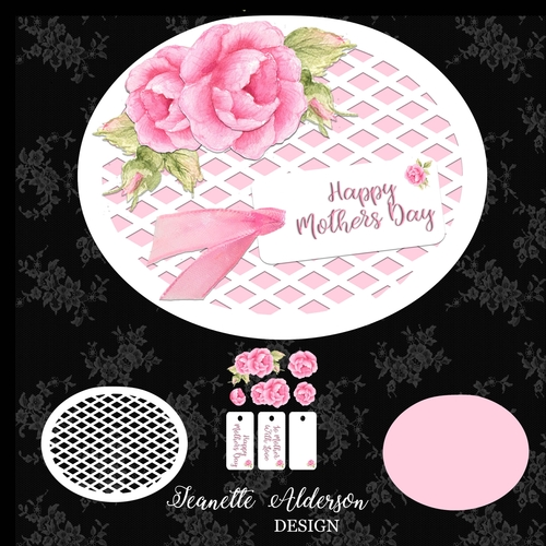 Oval card with Lattis mat and watercolor decoupage roses cutting print and  cut file mothers day card