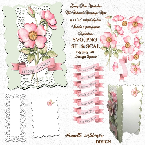 Old fashioned rose digital SVG PNG print and cut decoupage card cutting file
