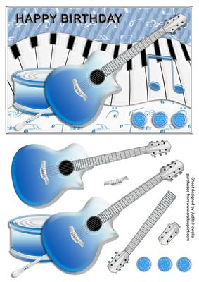 Guitar And Music Blue Birthday Card Front