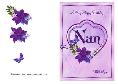 Nan Birthday Card With Big Heart And Flowers
