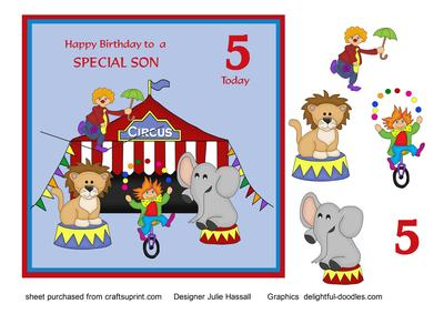 Birthday Card For Son Age 5 With Circus Scene