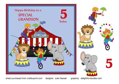 Birthday Card For Grandson Age 5 With Circus Scene
