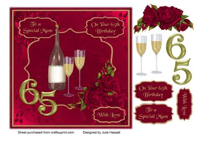 Mum 65th Birthday Card with Champagne Roses CUP6661392306 – Mum 65th Birthday Card