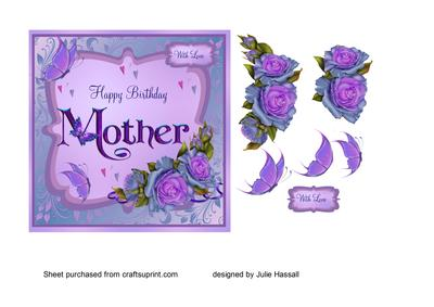 Birthday Card For Mother With Purple Roses Butterflies