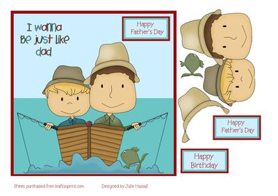 Father And Son In Fishing Boat Fathers Day Card