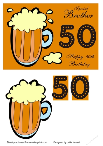 50th Birthday Card For Brother With Pint Of Beer