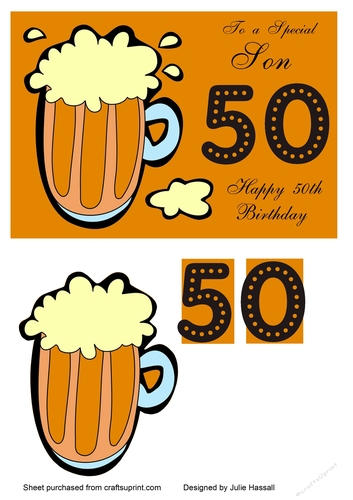 50th Birthday Card For Son With Pint Of Beer