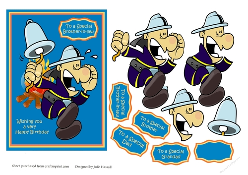 Male Birthday Card With Funny Cartoon Fireman Image Cup7271582306