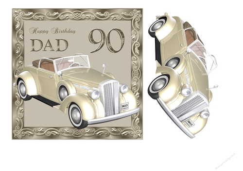90th Birthday Card For Dad With Vintage Car