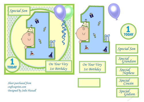 1st Birthday Card With Large Numeral Little Boy And Balloons