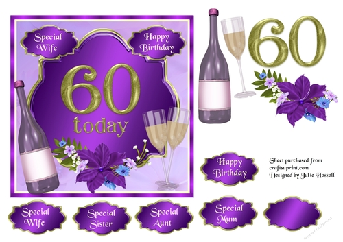 60th Birthday Card Topper With Wine Glasses And Flowers