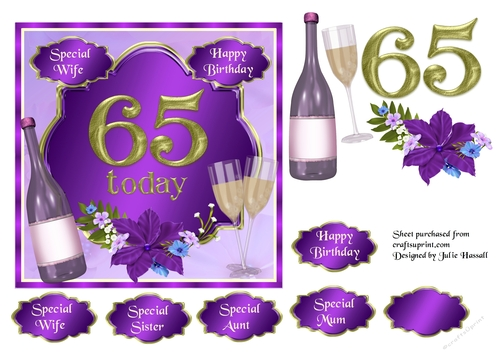 65th Birthday Card Topper With Wine Glasses And Flowers