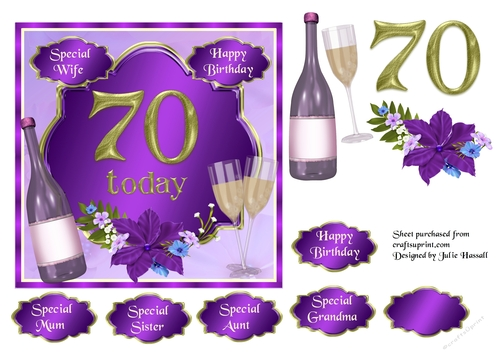 70th Birthday Card Topper With Wine Glasses And Flowers