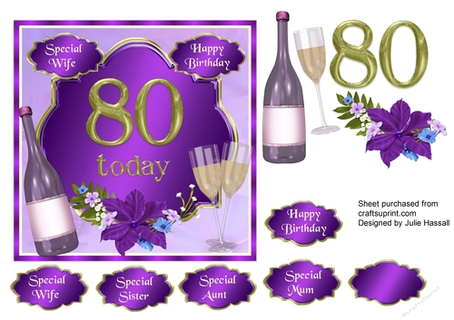 80th Birthday Card Topper With Wine Glasses And Flowers