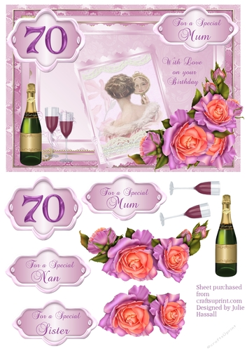 70th Birthday Card With Decoupage Roses Vintage Lady