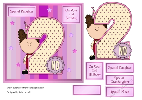 2nd Birthday Card With Large Numeral And Little Girl