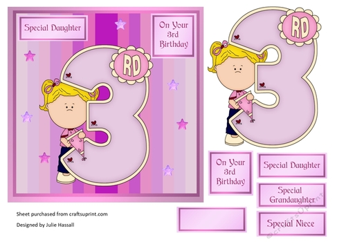 3rd Birthday Card With Large Numeral And Little Girl