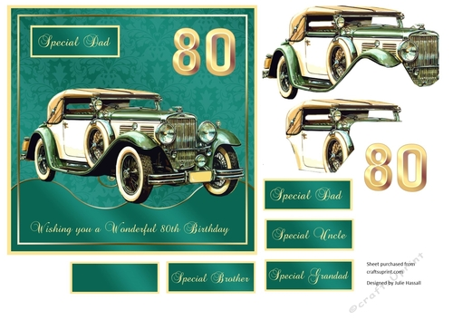 80th Birthday Card Front With Vintage MG Decoupage Family Tags