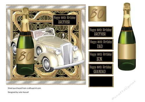 80th Birthday Card With Vintage Car Champagne Choice Of Male Sentiments