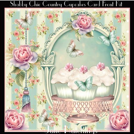 Shabby chic countryside cupcakes card front kit - Manualidades shabby chic ...