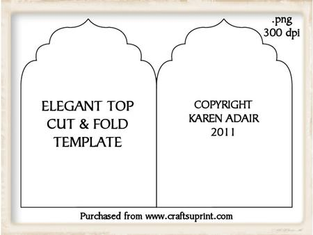 Elegant Top Cut and Fold Card Template - CUP189236_168 | Craftsuprint