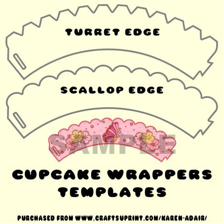 picture about Scalloped Edge Template Printable known as Cupcake Wrappers Templates