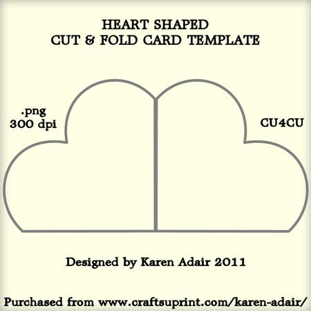 heart shaped cut and fold card template cup226347 168 craftsuprint