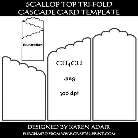 Scallop Top Trifold Cascade Card Template CUP234951168
