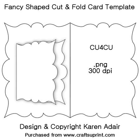 fancy shaped cut fold card template cup326956 168 craftsuprint