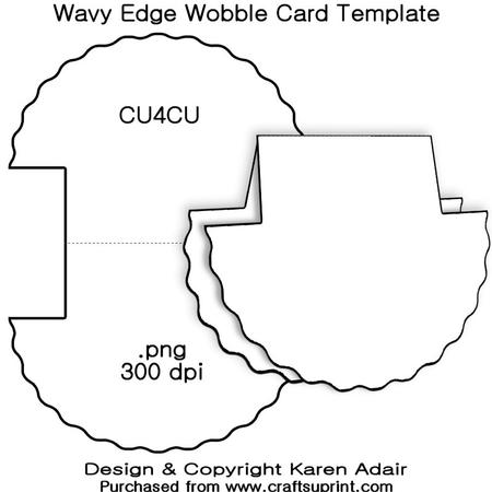 wavy edge wobble card template cup326982 168 craftsuprint