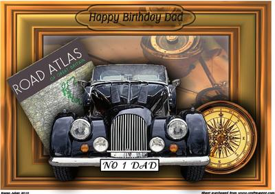 Happy Birthday Dad Vintage Car 3D