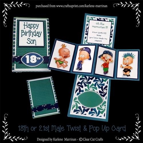 Happy Birthday Son 18th Or 21st Twist Pop Up Card