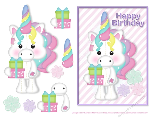 Happy Birthday Unicorn Card Topper