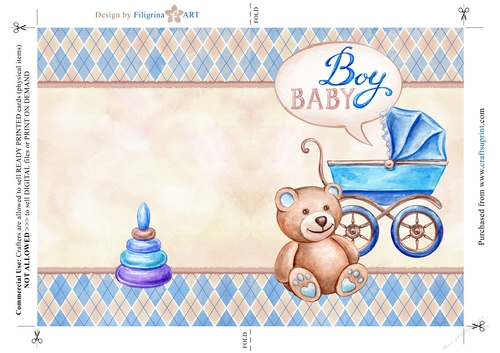 new baby boy greeting card newborn baby shower folded printable on a4 cup733537_73106 craftsuprint - New Born Baby Card