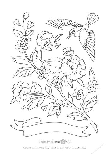 Digital Adult Coloring Page. Oriental garden. Flowers ...