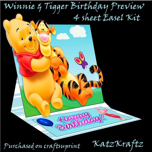 Winnie Tigger Easel Birthday Card Cup76661777860 Craftsuprint